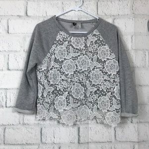 Divided Womens Size Small Sweater  Gray Cropped